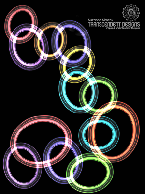 Black Floating Chakra Circles Print by Suzanne Simcox